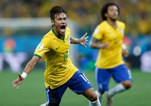 Neymar celebrates his first goal of the game.
