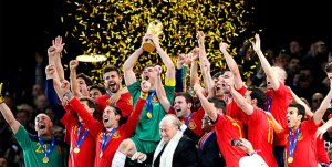 Spain winning the 2010 World Cup in South Africa