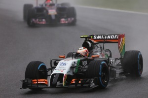 Sergio Perez at the Japan GP under heavy rain conditions. (Force India)